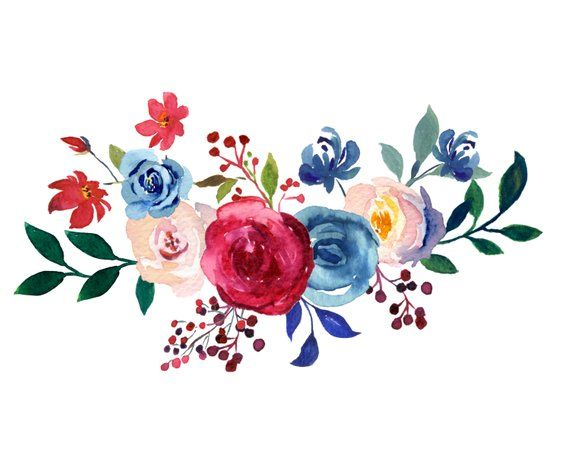 Burgundy And Navy Watercolor Collection Merlot And Blue Etsy Flower Stencil Floral Art Floral Border Design