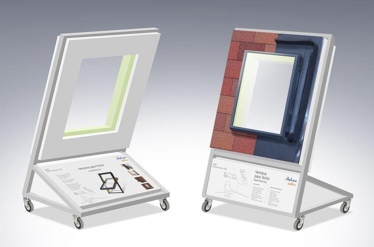 Conceptualización y diseño display exhibidor Ventanas para Techo para SABIC Chile