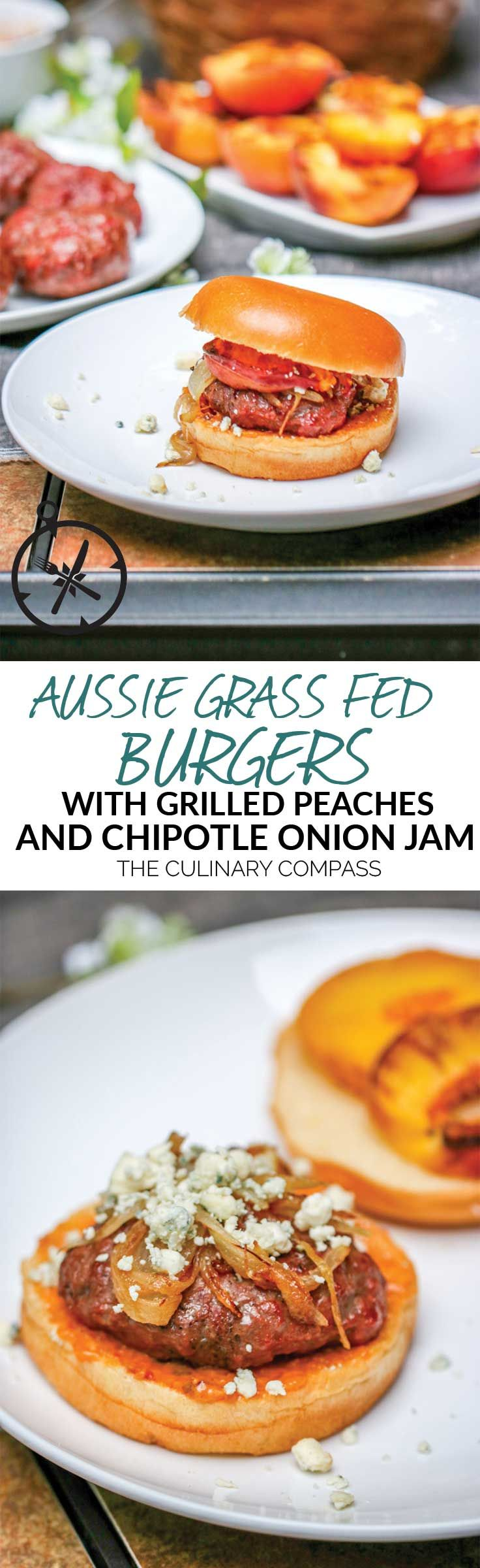 These Aussie Grass Fed Beef Burgers with Grilled Peaches and Chipotle Onion Jam are layered with bold flavors and perfect for the adventurous eater! via @culinarycompass