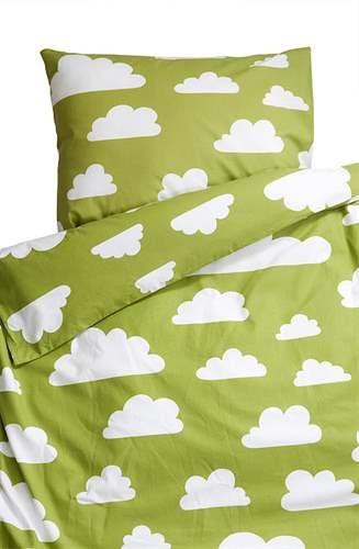 Färg & Form, MOLN, Påslakanset, 150x210 & 50x60 cm, Grön Sängkläder till junior- & vuxensäng Textilier Barnrum på nätet hos Lekmer.se