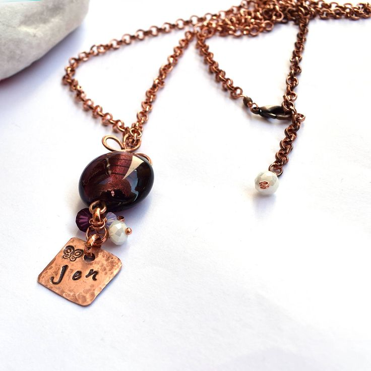Personalized hand stamped Necklace, initial necklace, copper tag pendant, chain necklace, custom jewelry, inspirational jewelry gift for her