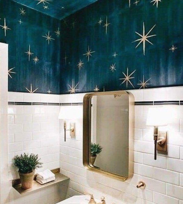 Starry Bathroom Homedecor Bathroom Susseszuhause Sussezuhauseideen Sussedekoration Sussewohnkultu Badezimmer Tapete Badezimmer Farbideen Badezimmer Streichen