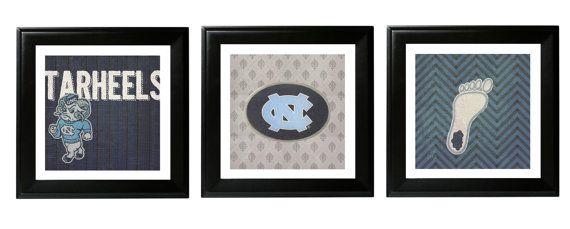 Vintage UNC Tarheels Wall Art, Basketball Decor, UNC Decor, Tarheels Decor, Home Decor, Tarheels Wall art