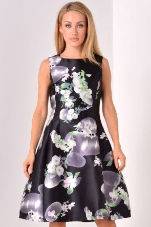 Gracie Lantern Dress in Green Floral