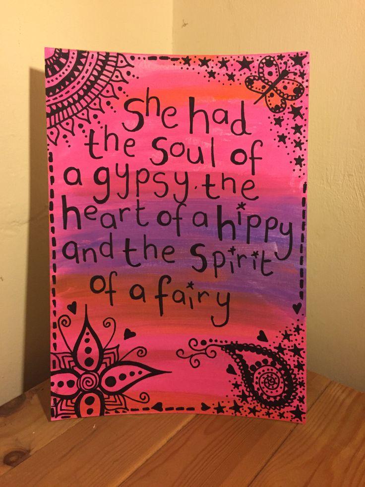 Soul of a gypsy handpainted canvas paper ready to frame, fairy, hippy, bohemian original OOAK artwork by Dottydelightful on Etsy