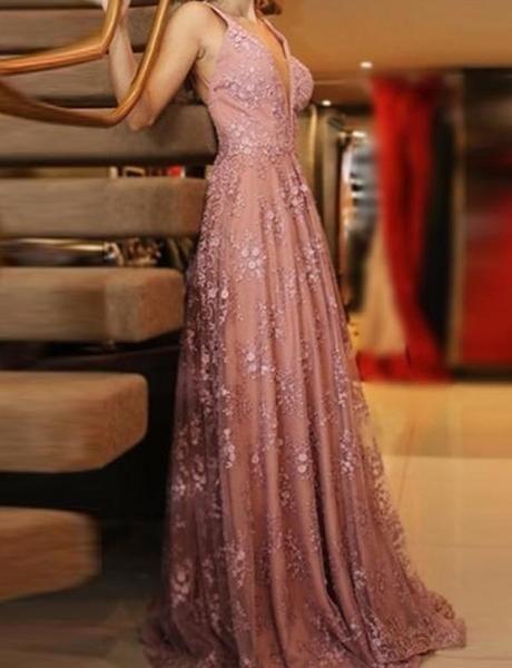 c6c13d1290 A-line V-neck Pink Lace Evening Dresses