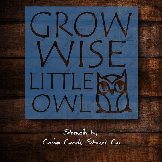 Grow Wise Little Owl Stencil, Reusable Craft Stencil