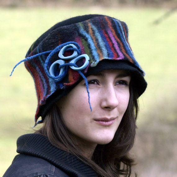 multicolored felt wool hat nuno felting unique felt hat