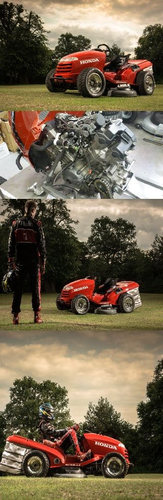 130 MPH Lawn Mower!!!??? | The nutjobs over at Honda Team Dynamics cannibalized a 1000cc ATV into their stock HF260 ride on lawn mower.Honda, in conjunction with Top Gear magazine and racing outfit Team Dynamics,has built a high performance ride-on lawn mower capable of reaching speeds up to 130 mph.This could free up some time on the weekend.And,yes,it can still cut the grass.