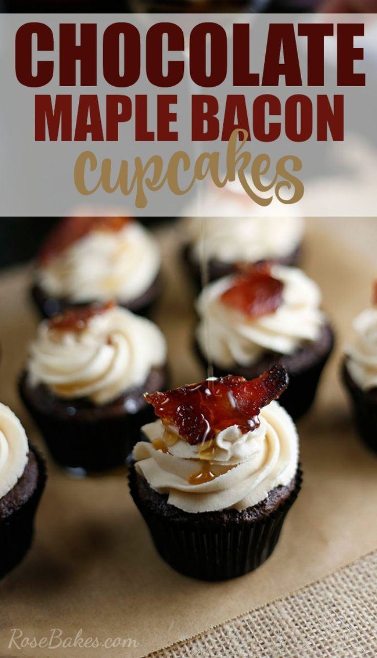Chocolate Maple Bacon Cupcakes. Rich chocolate cupcakes topped with Maple Brown Sugar Buttercream , then a piece of candied bacon and drizzled with pure maple syrup.  The perfect combo of salty and sweet - creamy and crunchy.