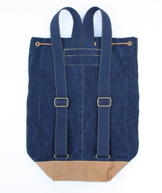 denim backpack blue jeans cotton drawstring by UpcycledDenimShop
