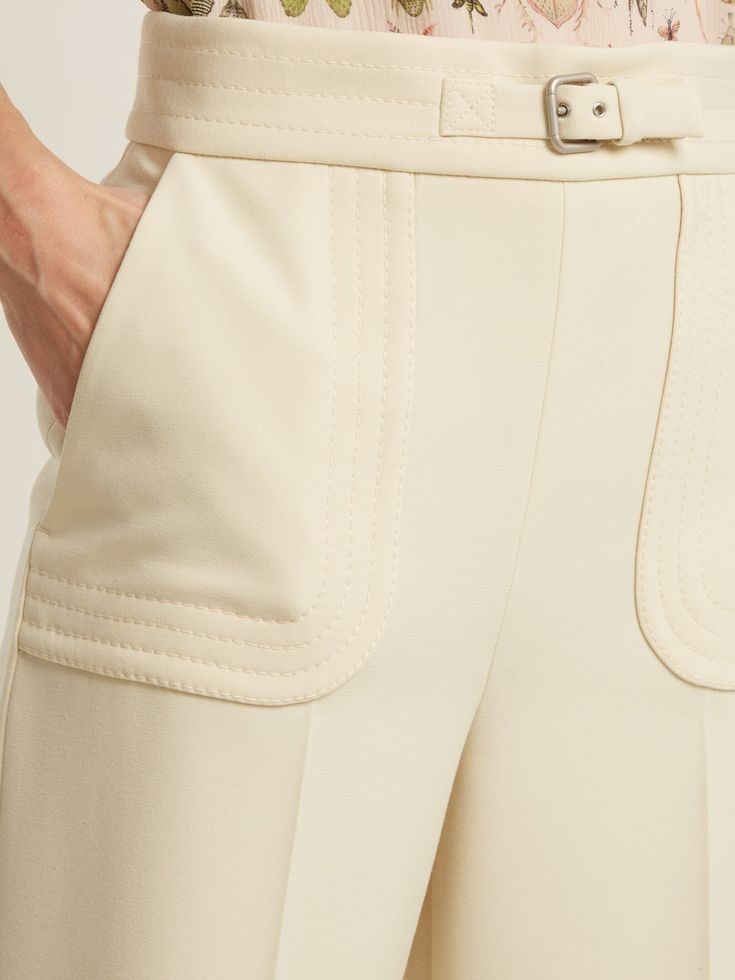 Buckle-detail wide-leg cropped trousers | REDValen…