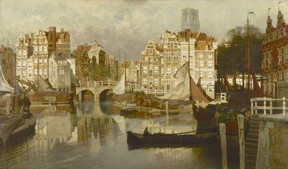 ohannes Christiaan Karel Klinkenberg (1852-1924) View on the Blaak, Rotterdam, oil on canvas. Collectie Simonis & Buunk, The Netherlands.