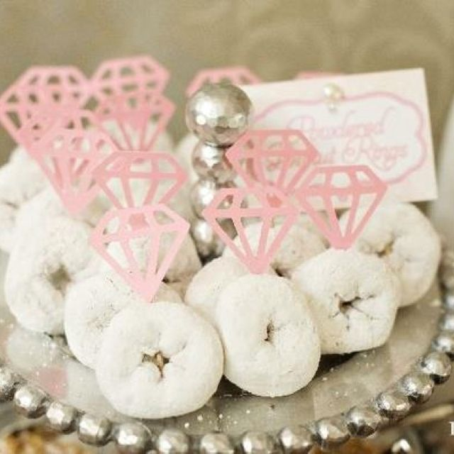 Powdered doughnut diamond rings?! Cute idea for a party.