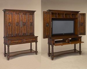 Maitland Smith 5130 398 Dark Antique Lido Finished Veneer Flat Screen TV  Cabinet, Accommodates