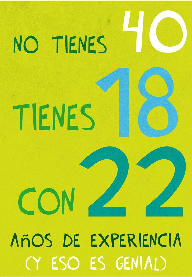 Tarjeta gratis de cumpleaños para imprimir - 18+22=40 | Greetings Island