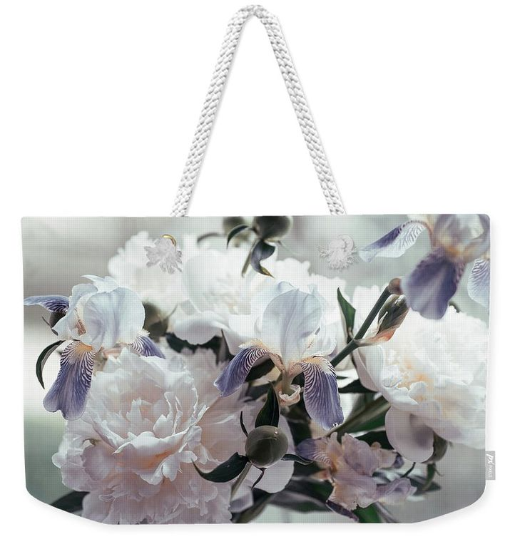 "Peony Romance Weekender Tote Bag (24"" x 16"") by Jenny Rainbow.  The tote bag is machine washable and includes cotton rope handle for easy carrying on your shoulder.  All totes are available for worldwide shipping and include a money-back guarantee."