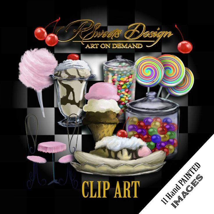Excited to share the latest addition to my #etsy shop: Ice Cream Shop Clipart Collection, ice cream clipart, Hand Painted Clipart