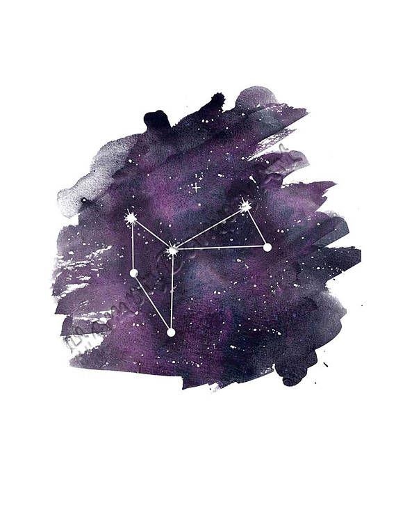 Phoenix constellation print Purple watercolor art Wall print