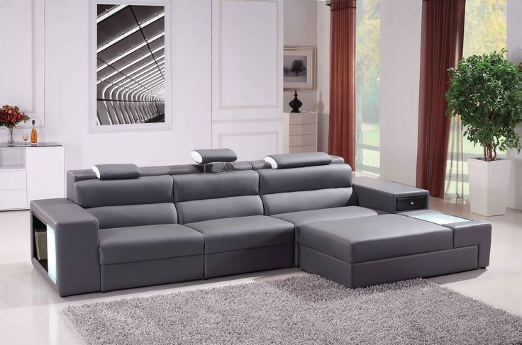 Modern White Compact Bonded Leather Sectional Sofa
