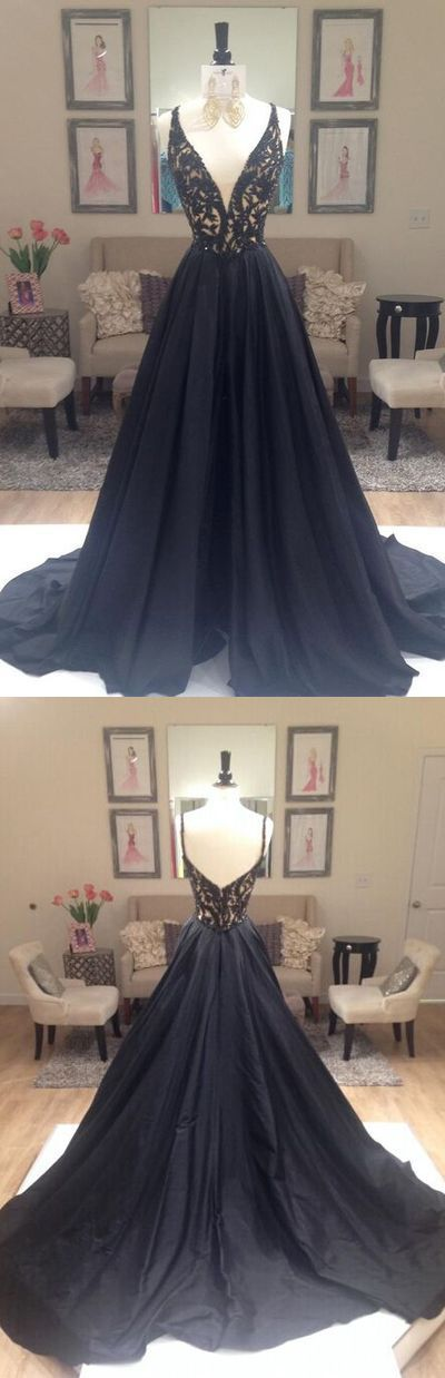 A-Line Long Black Lace V-Neck Prom Dresses Party Evening Gowns 99602384
