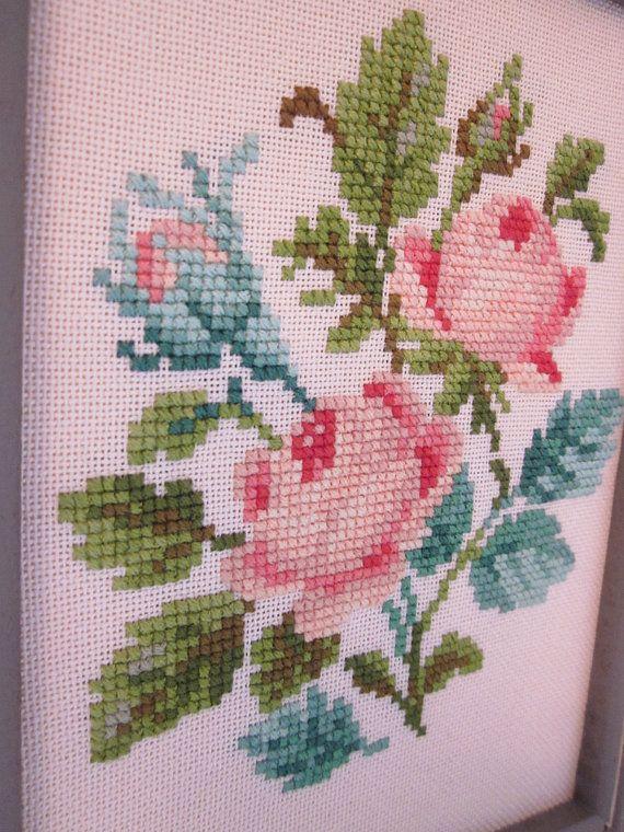 Victorian Roses Cross Stitch Framed Decor by StarryNightsStudioCo