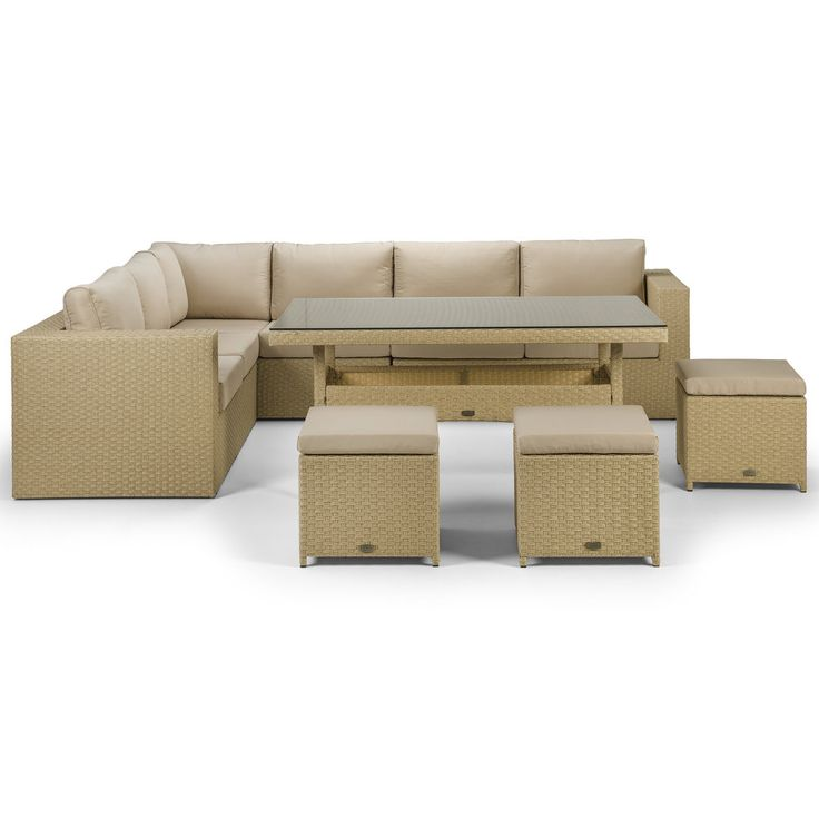 Yasmin Natural Corner Sofa with 3 Stools and a Dining Table - The Yasmin corner sofa set with dining table is in the brand new natural wicker style twin-round premium rattan, neatly woven and with adjustable hidden feet.  Cushions are premium quality, shower proof and super thick and will make sure you spend many a lazy weekend not wanting to leave your garden.  The dining table has a full weave underneath the glass.