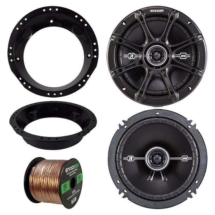 "98-13 Harley Speaker Bundle: 2x of Kicker 43DSC6504 6.5"" Inch 480 Watts 2-Way DS-Series Black Car Stereo Coaxial Speakers + Speaker Mounting Rings For Motorcycles + Enrock 50 Ft 16G Speaker Wire"