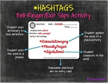Teaching vocabulary with hashtags - Common Core #Hashtags Reading & Vocabulary Bell Ringer Activities