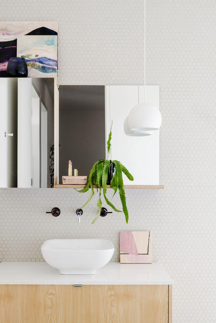 Fiona Lynch // Finnon Glen // white; timber; mirror; pendant; exposed plywood shelf; hexagonal tiles