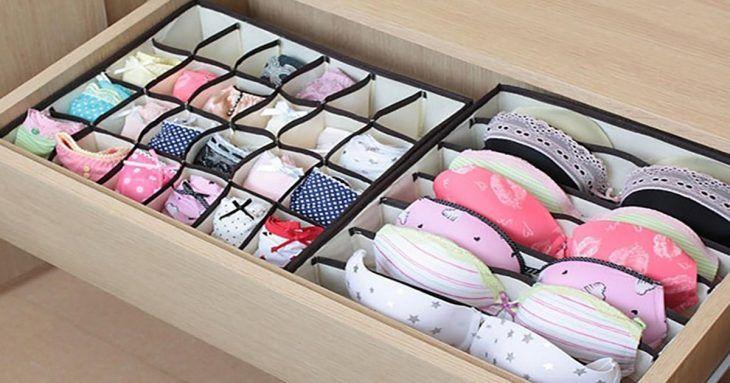 Cajón de lencería organizado.