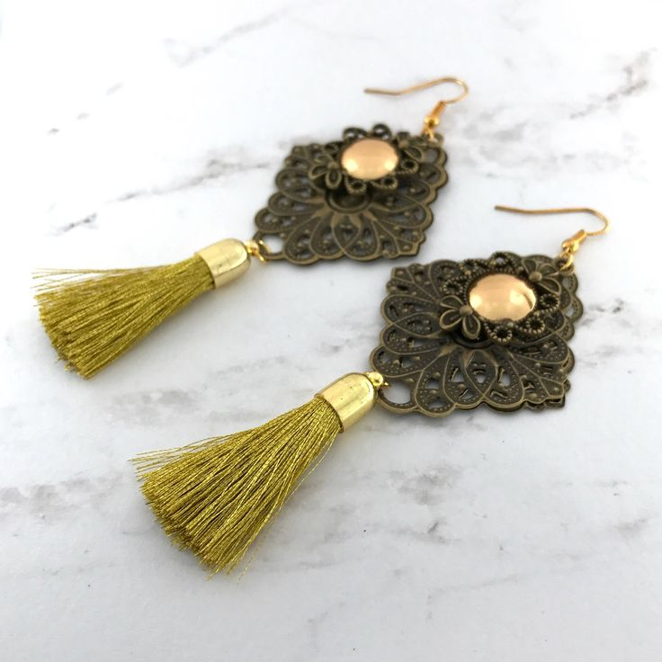 Gold Tassel earrings  Filigree drop earrings gift for her boho  Antique Bronze by VividSister on Etsy https://www.etsy.com/au/listing/534287414/gold-tassel-earrings-filigree-drop