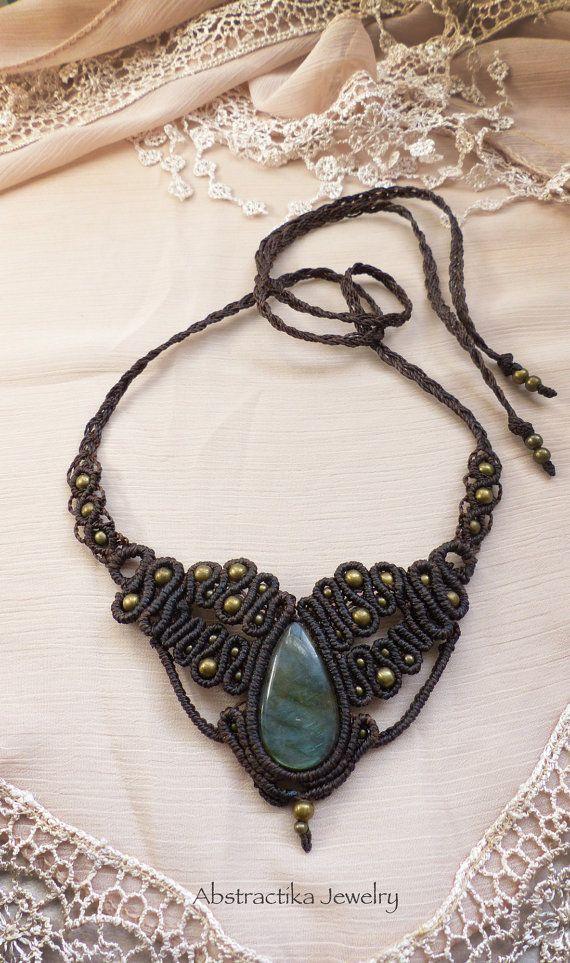Macrame necklace with labradorite gemstone. by AbstractikaCrafts, £37.00