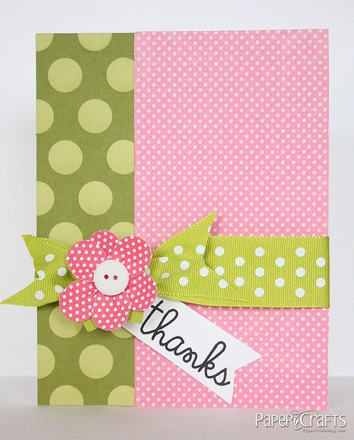 handmade card ... bright pinks and olive greens ... polka dots galore ... fun and easy card ...