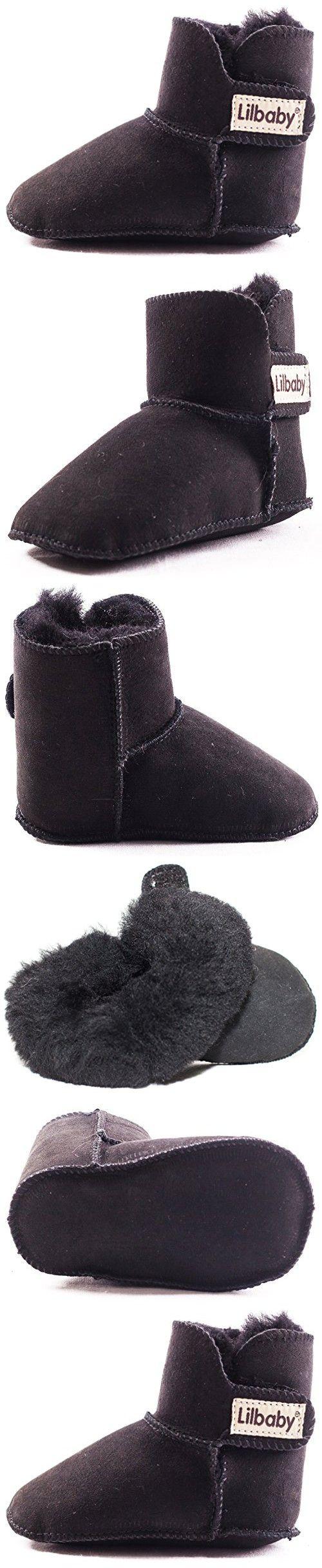 Lilbaby Bergen Merino Sheepskin Baby Bootie (100% PURE Australian Sheepskin, Calf Suede, Velcro Fastener) (18-24 months, Black)