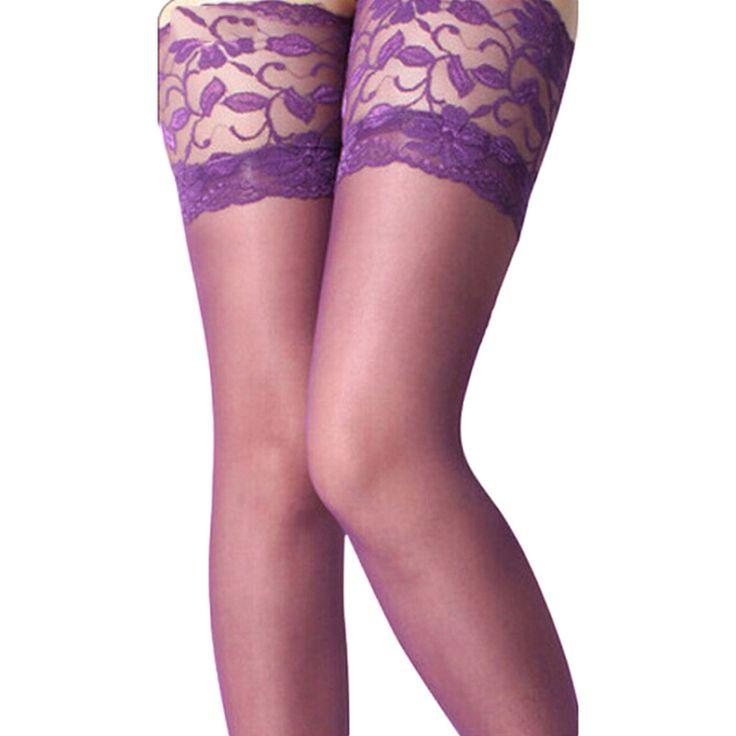 Женщины сексуальная чулки кружева топ силиконовой лентой будьте бедро-высокие чулки леди колготки