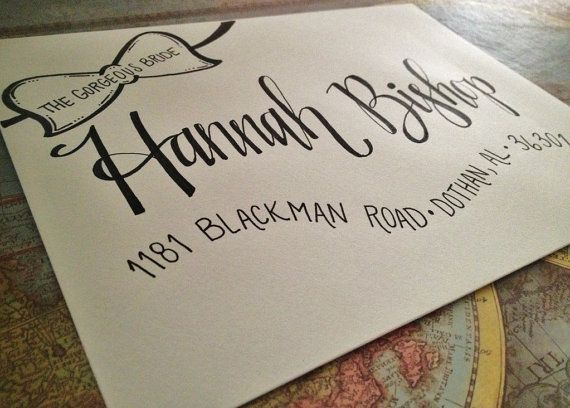 Hand Addressed Envelopes with Bow Banner! Cute for Bachelorette Shower, Baby Shower, Wedding!
