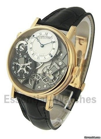 Breguet Tradition 7067 GMT - Rose Gold on Strap with Skeleton Silver-Anthracite Dial
