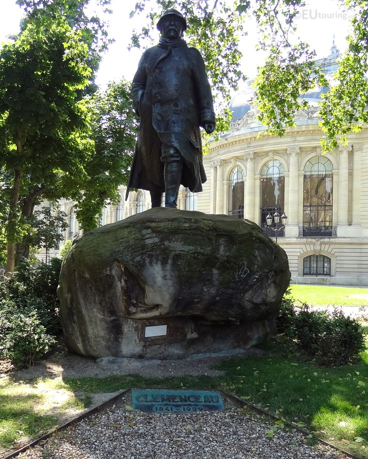 In the gardens of the Petit Palais you can find a statue of Georges Benjamin Clemenceau on top of a rock, who was known for being the Prime Minister during world War I with the Petit Palais seen in the background.  See more Paris Photos at www.eutouring.com