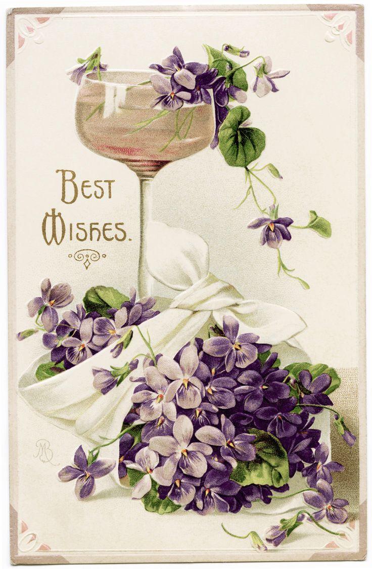 Old Design Shop ~ free digital image: violets, wine and best wishes vintage postcard