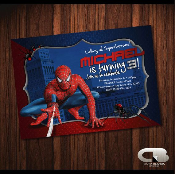 The 11 best spiderman images on pinterest spiderman birthday spiderman invitation spiderman invite spiderman birthday invitation spiderman birthday party digital file download stopboris Image collections