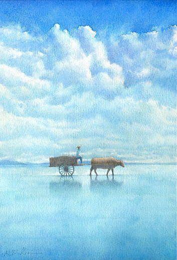 【水彩画テラス】沖縄の風景「立夏」 由布島/水彩画