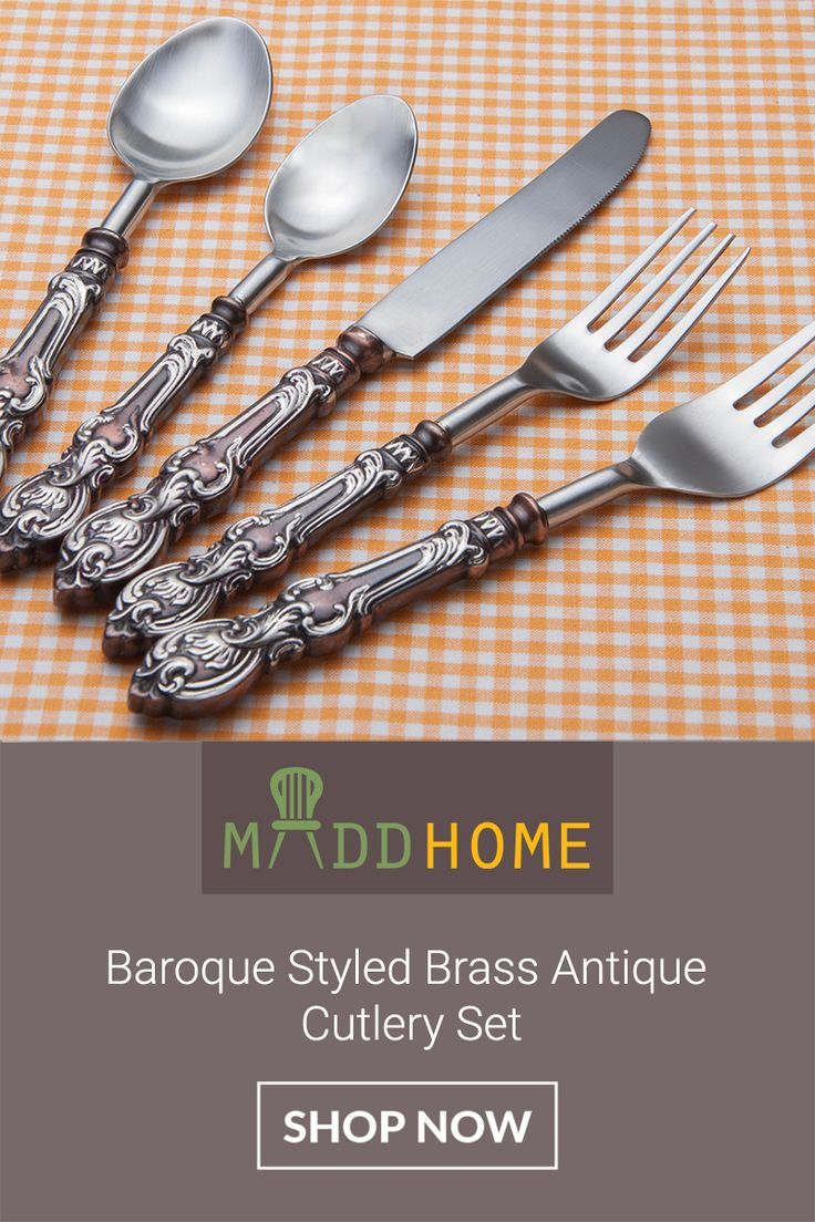 Serve a lavish meal with this perfect Baroque Styled Brass Antique #CutlerySet. #Exclusive Flat 25% Off. Shop Now: http://goo.gl/p7cmGZ