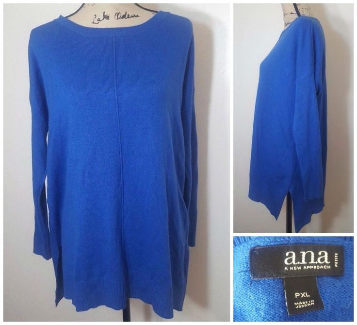 Blue Sweater Long Sleeve Ribbed Tunic Top a.n.a Petite Women PXL Slouchy Cute #ana #Tunic
