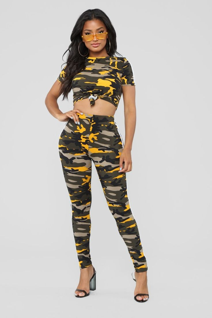 Camo Queen Lounge Set Yellow Types of fashion styles