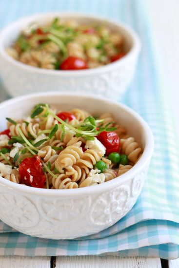 Whole Wheat Pasta Salad With Feta and Peas: Make this kid-friendly pasta salad at lunch and serve through snack time; it actually tastes better the longer it sits. The whole wheat pasta is a filling option and the pea shoots give it a nutritious crunch. It's a quick recipe you'll find yourself returning to throughout the Summer.  Source: The Clever Carrot