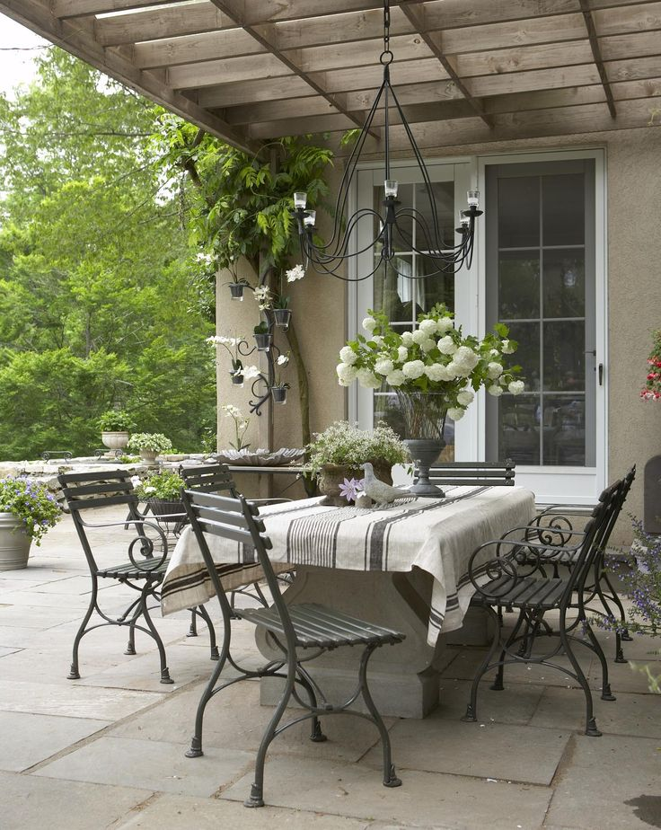 A Massive Stone Table And Reproduction Antique Chairs Furnish This Lovely  Terrace.   Country French. Outdoor Living ... Part 50