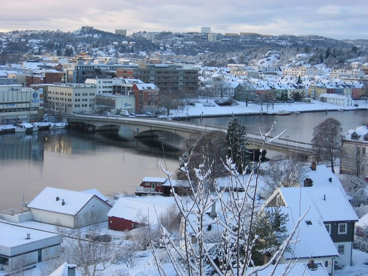 Otra River running through Kristiansand, SE part of Norway