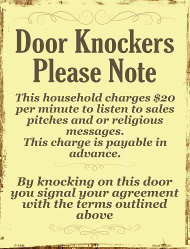 Door Knockers 9 X 12 Metal Funny Parking Sign