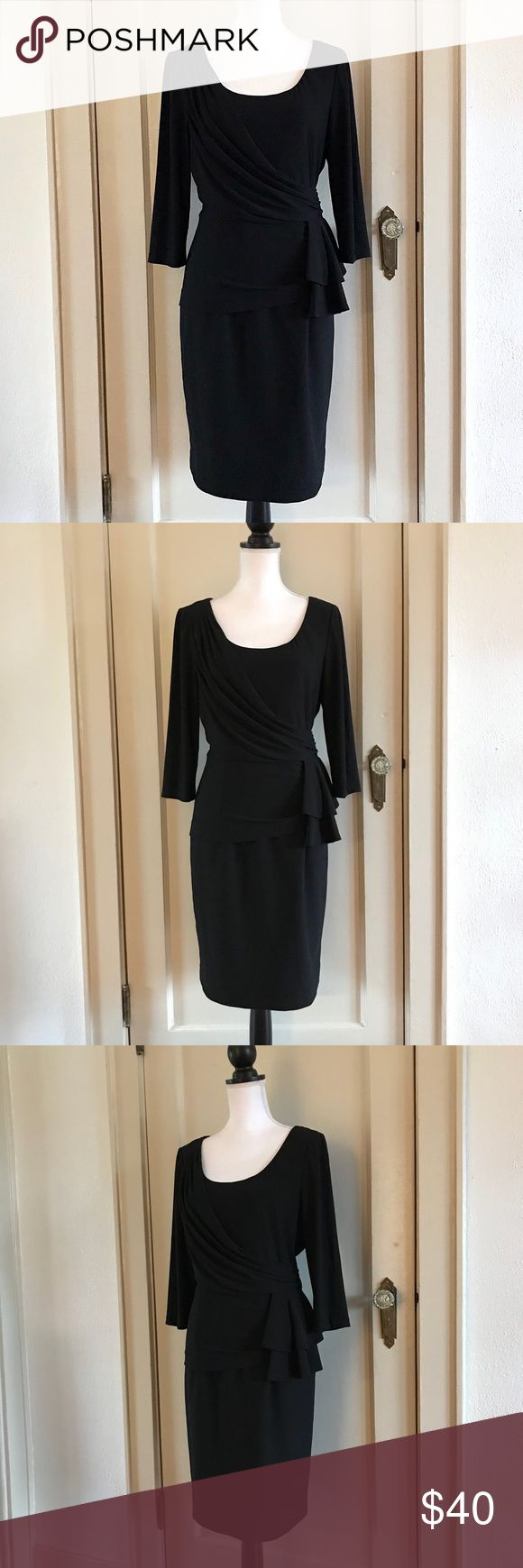 "KAY UNGER - Black 3/4 Sleeve Ruffle Tiered Dress L KAY UNGER Black Ruffle Tiered 3/4th Sleeve Dress  Size 12 / Large Great Pre-Owned Condition! Retail: $245.00  Approximate Measurements (flat): Waist - 16.5"" Bust - 20"" Length - 38"" Sleeve - 17.5""  Shell: 96% Polyester, 4% Spandex Lining: 100% Polyester  *Item was pinned to better fit the mannequin for the images, they do not represent the actual size of the item*   Bundles Welcome! NO PAYPAL! Please allow 2 days handling!  Thank you! 😊 Kay…"
